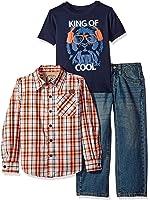 Lee Boys' 3 Piece Button Down Shirt, Graphic Tee, Jean Set