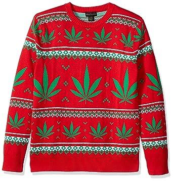 alex stevens mens marijuana jacquard ugly christmas sweater at amazon mens clothing store - Amazon Christmas Sweater