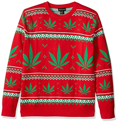 29e951a66834 Alex Stevens Men s Marijuana Jacquard Ugly Christmas Sweater