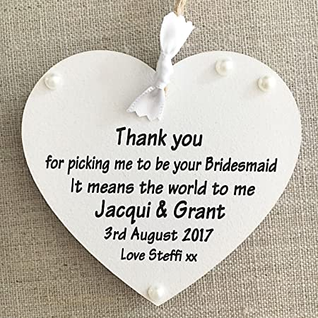 personalised thank you from bridesamid heart wedding plaque sign