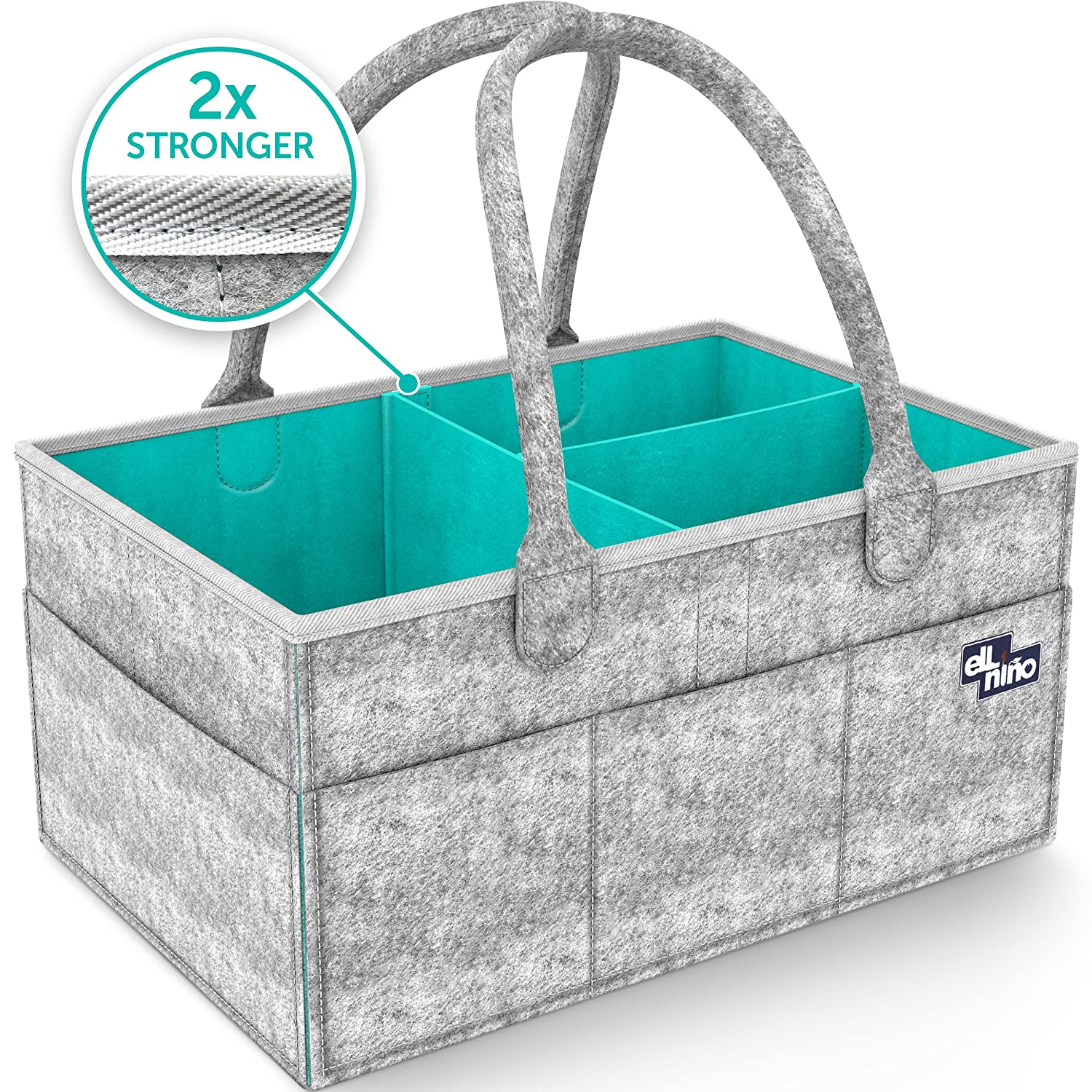 Baby Diaper Caddy Organizer - Portable Large diaper caddy tote - Car Travel Bag - Nursery diaper caddy Storage Bin - Gray Felt Basket Infant Girl Boy - Cute Gift for Kids - Newborn Registry Must Have Ell Nino