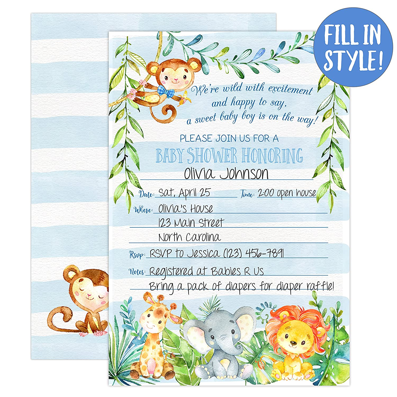Boy Jungle Safari Baby Shower Invitations Safari Animal Invitation 20 Fill In Invitations And Envelopes Blue Boy Baby Shower Party Monkey Lion
