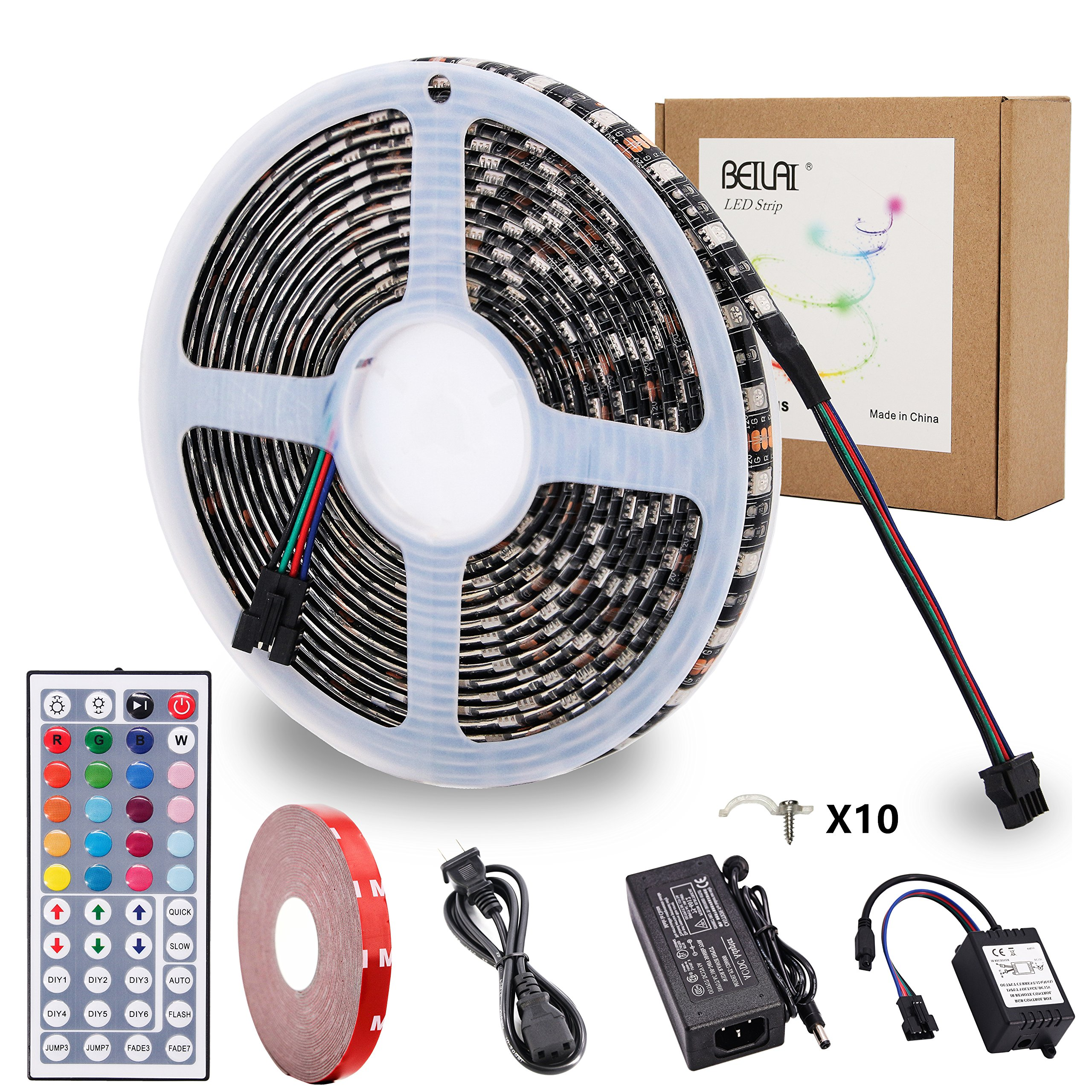 RGB LED Strip Lights Kit,BEILAI RGB LED Light Strip Waterproof SMD 5050 DC 12V Flexible Neon Tape 16.4 Ft (5M) 300leds with 44key Controller for Christmas Kitchen Party Indoor and Outdoor decoration