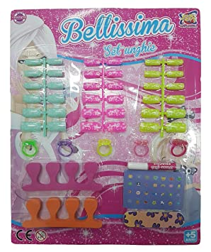 Takestop® Juego Juegos Bellissima 36 Tips Uñas Postizas autoadhesivo Tips Lima 5 anillas 2 espaciadores
