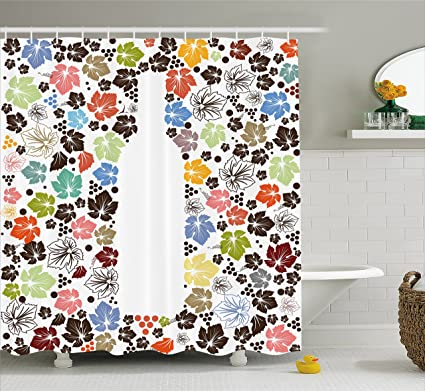 Ambesonne Wine Shower Curtain Colorful Stylized Autumn Nature Inspired Fallen Leaves With Dots And Bottle