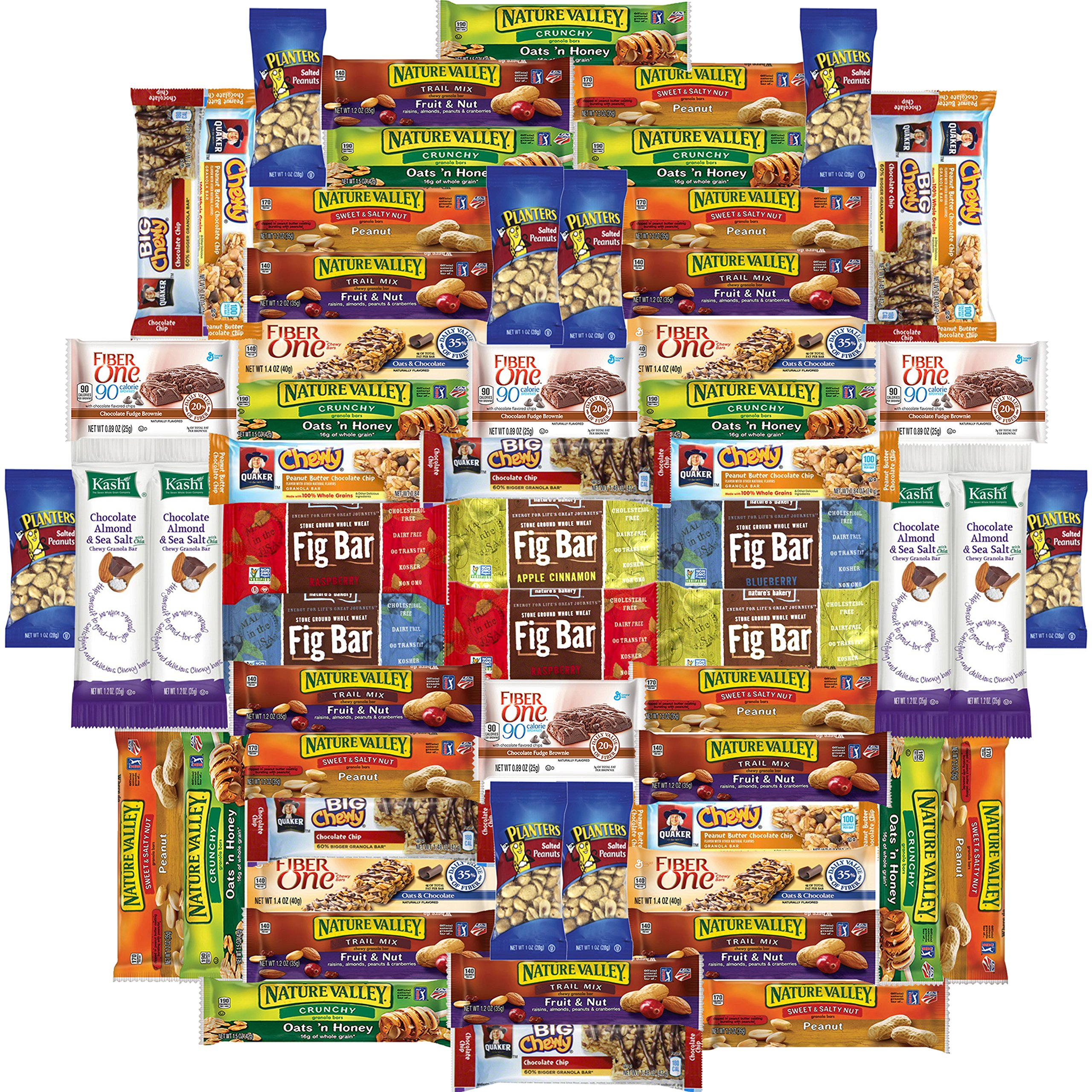 Healthy Bars & Nuts Care Package Variety Pack Bulk Sampler Includes Kashi, Fiber One, Quaker, Fig Bars, Nature Valley, Planters & More (60 Count)