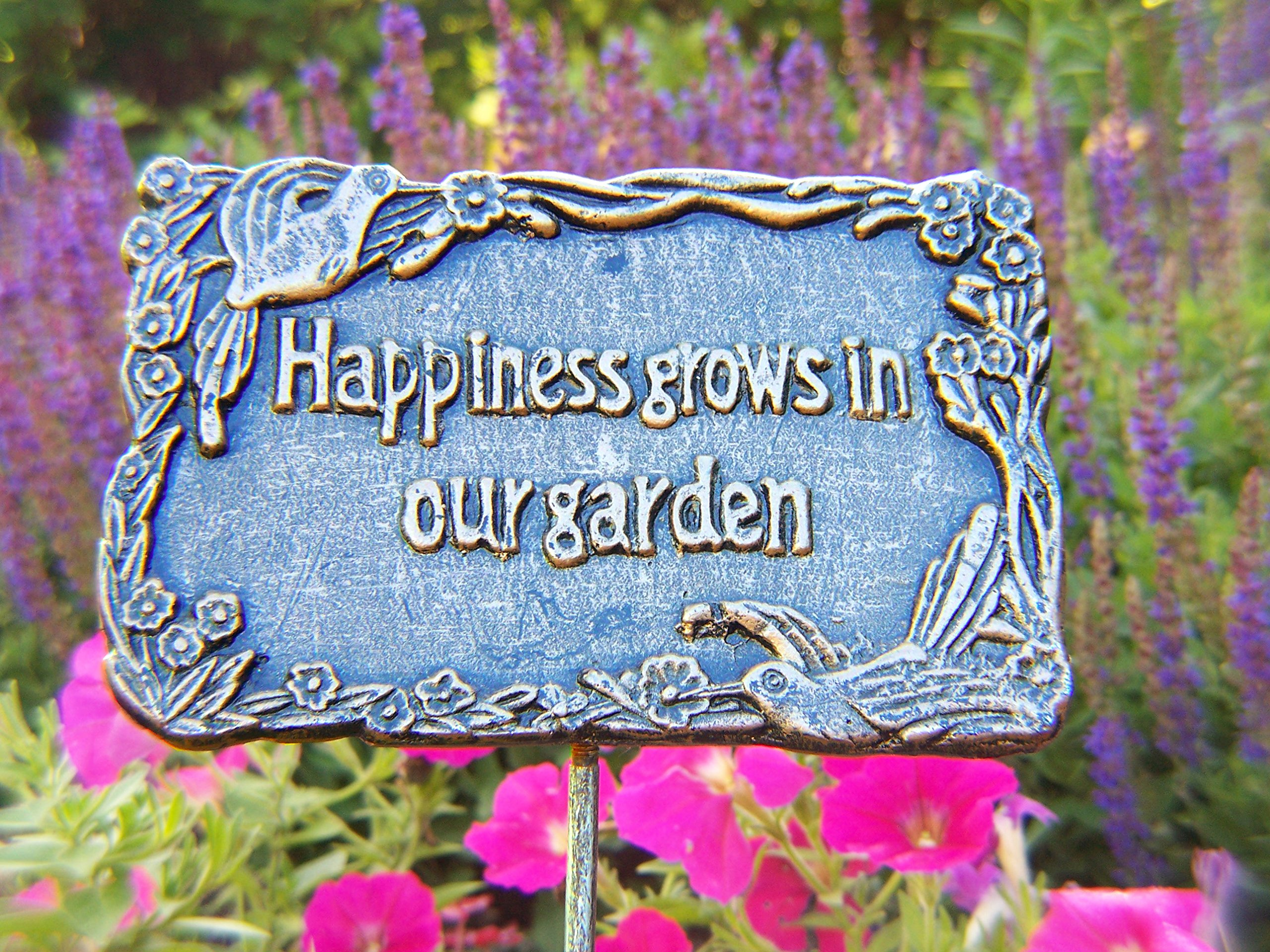 Oakland Living Decorative Garden Marker, Happiness Grows in Our Garden, Antique Pewter by Oakland Living (Image #2)