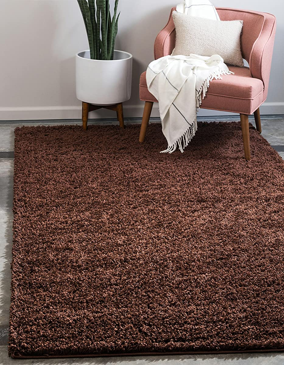 Unique Loom Solo Solid Shag Collection Chocolate Brown Plush Area Rug (3 x 5)