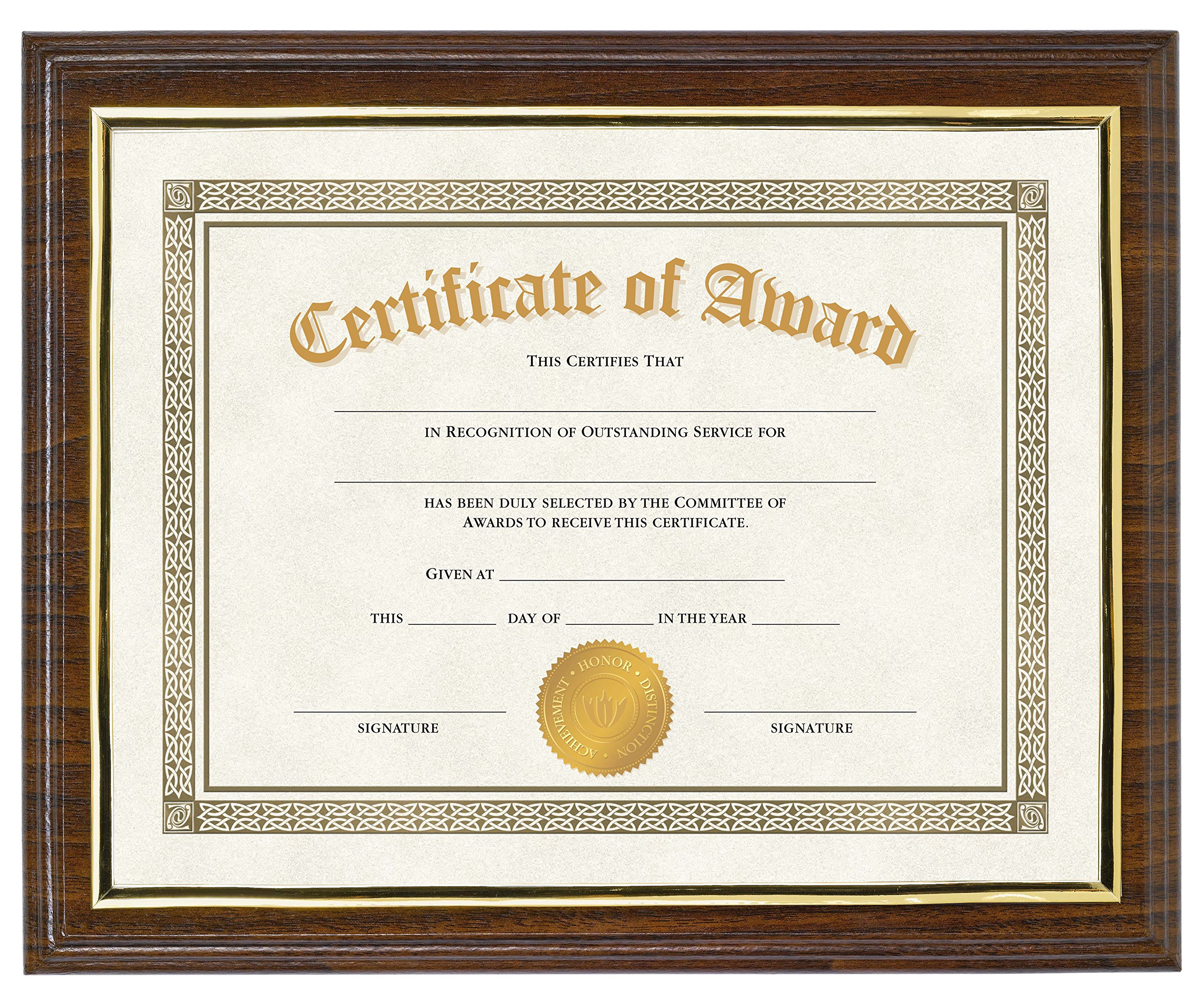 Victory Light Walnut Finish Award Plaque with Insertable Document Display, 4-Pack,