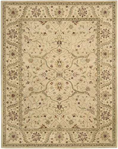Nourison Charleston Ivory Kashan 9.6-Feet by 13.6-Feet 100-Percent Wool Oversize Rug