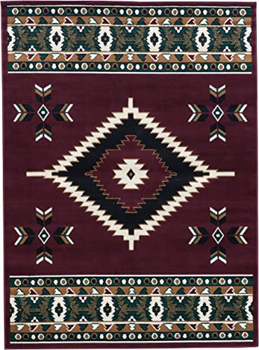 Southwest Native American Indian Area Rug Navajo Design in Burgundy and Dark Green SW2 Burgundy 5 x7