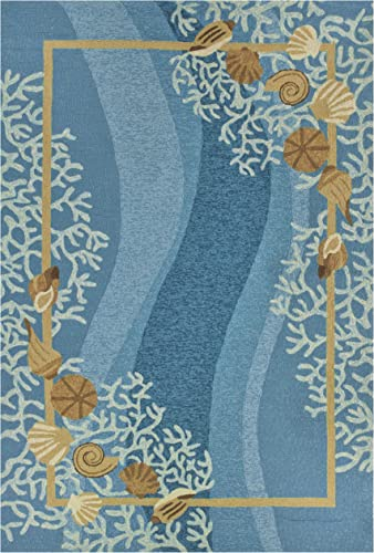 Homefires Shells and White Coral Indoor Hand Hooked Area Rug, 26 by 60-Inch