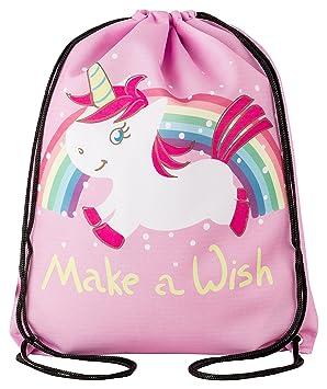 Aminata Kids Turnbeutel für Mädchen und Damen Lieblingsmensch Einhorn Regenbogen Flamingo Pusteblume Anker Stern e