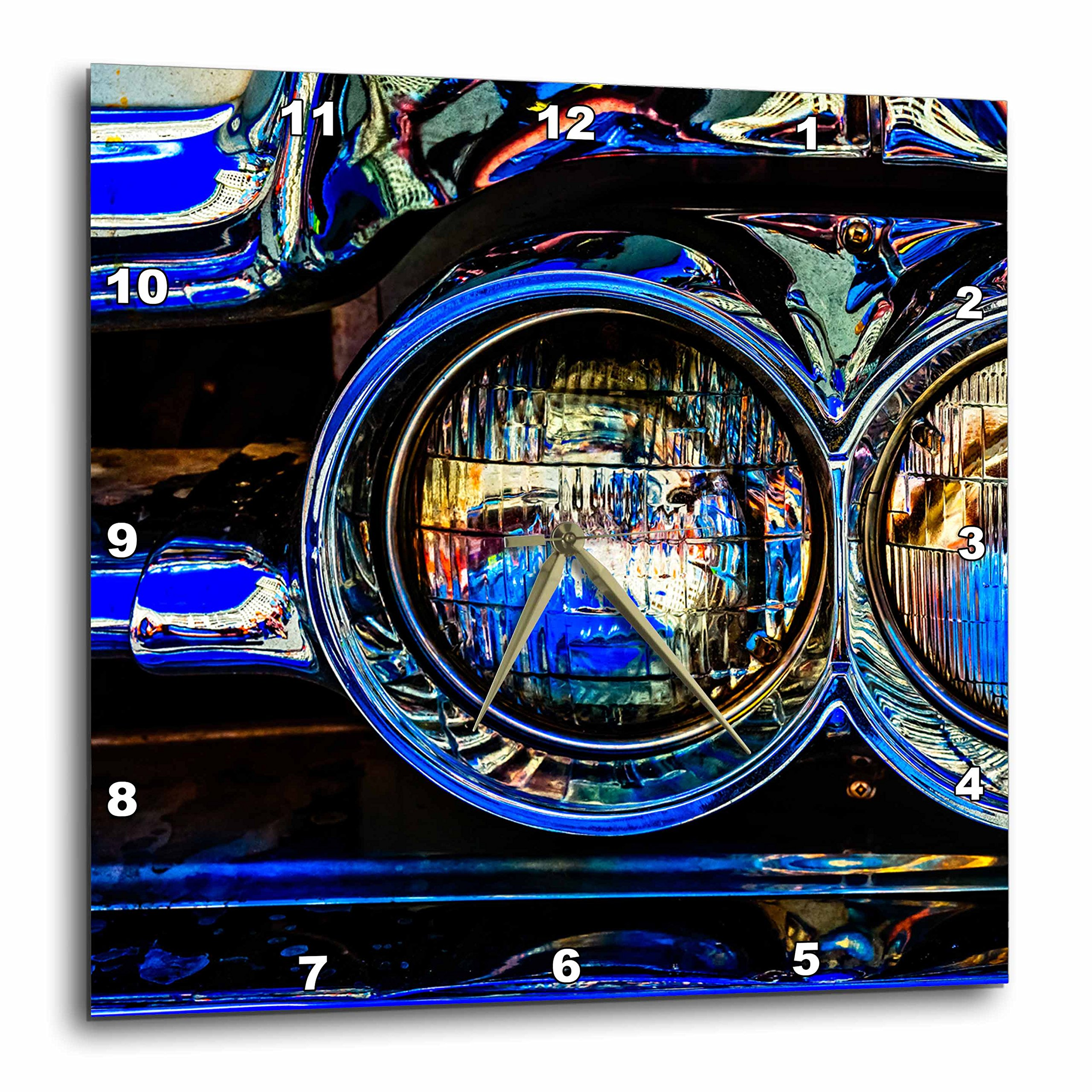 3dRose Alexis Photography - Transport Road - Headlights of a retro luxury car. Play of lights, shadows reflections - 15x15 Wall Clock (dpp_271954_3)
