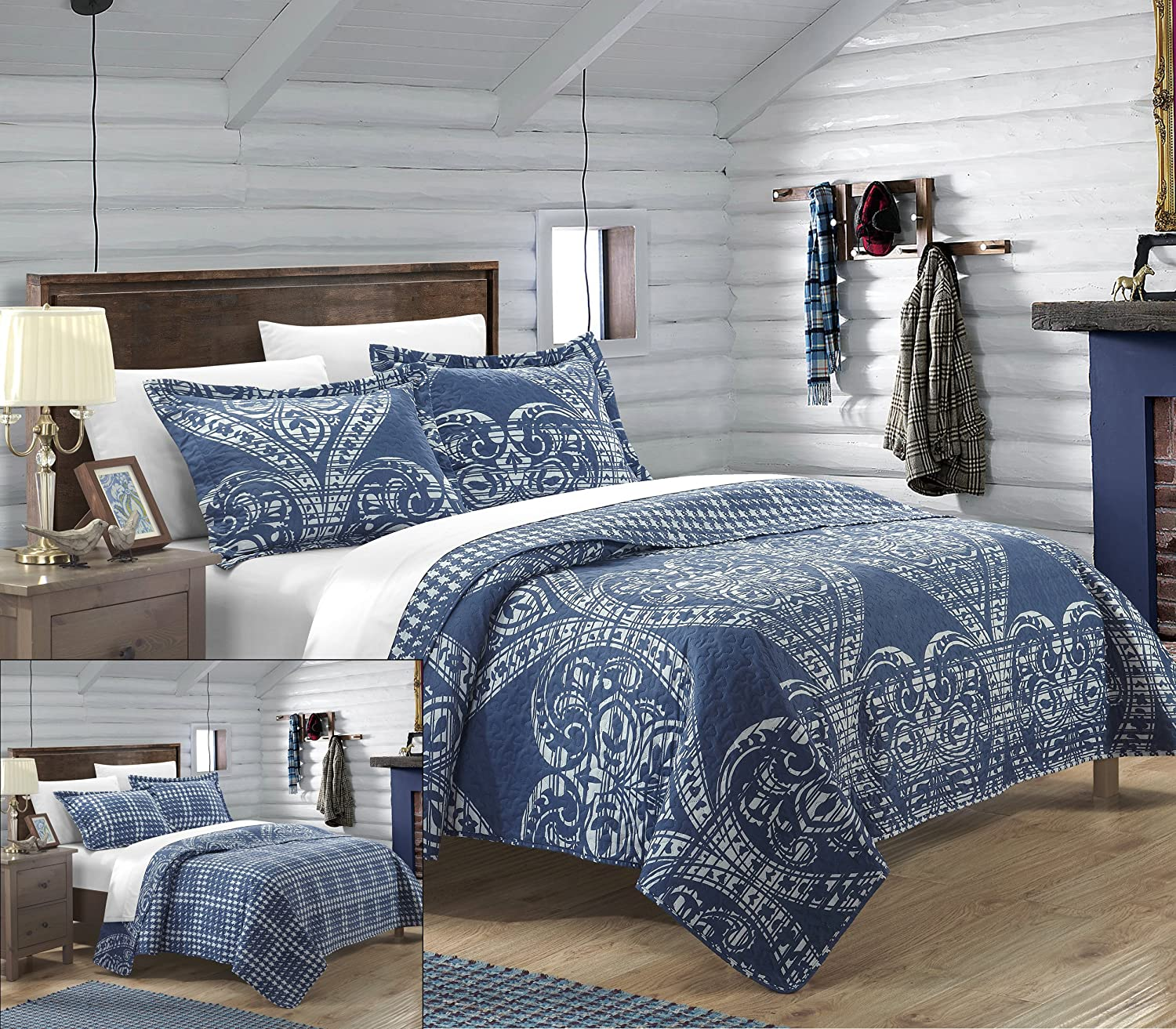 Napoli Reversible Printed Quilt Set, Queen, Navy