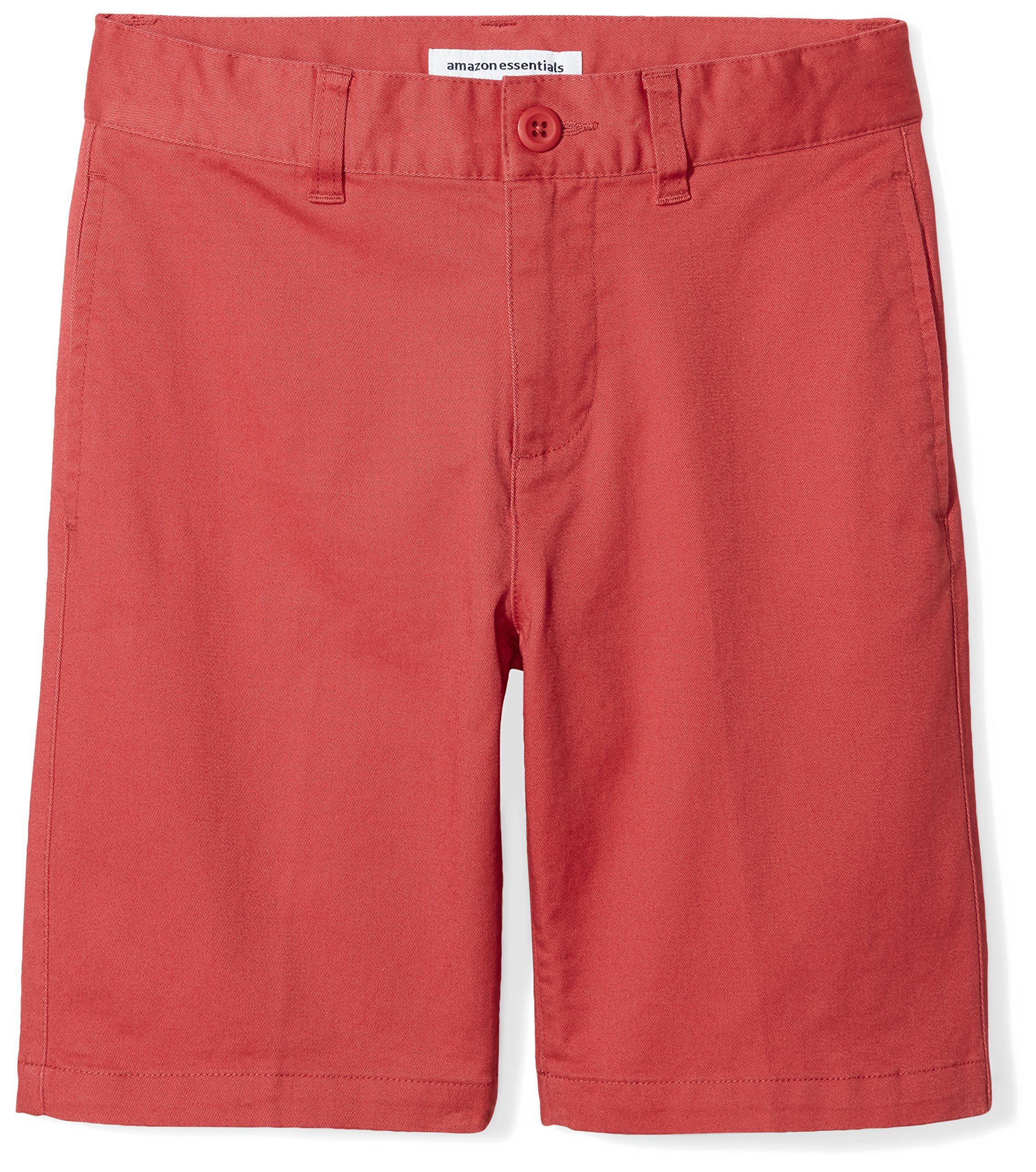 Amazon Essentials Boys' Flat Front Uniform Chino Short, Washed Red,10