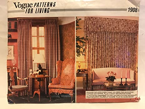 Amazon Vogue Sewing Pattern 1908 Window Treatments Curtains For