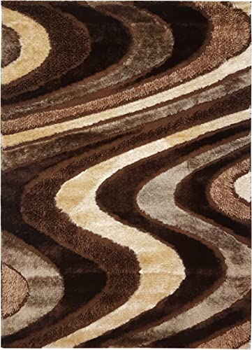 Spica Home 5 2 by 7 2 Decorative High Pile Shiny Bright Shaggy European Modern Area Rug,, Cozy, Pet-Friendly RED 5 2 x 7 .2 , Brown Beige