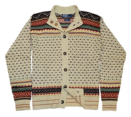 Polo Ralph Lauren Mens Indian Nordic Cardigan Sweater Cream Brown Green  Large