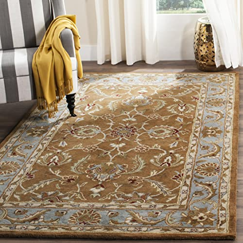 Safavieh Heritage Collection HG812A Handcrafted Traditional Oriental Brown and Blue Wool Area Rug 4 x 6