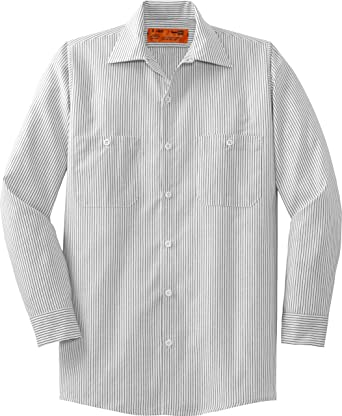 86d93daef Red Kap Mens Long Sleeve Striped Industrial Work Shirt, 2XLR, Grey/White