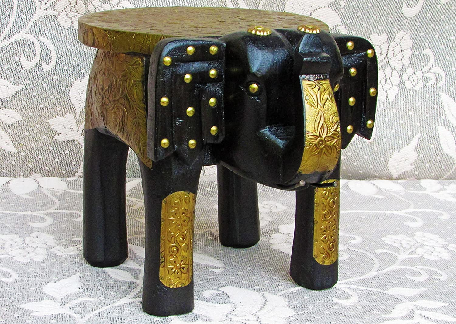 Peachy Vintage Indian Ethnic Wooden Elephant Stool Handpainted Onthecornerstone Fun Painted Chair Ideas Images Onthecornerstoneorg