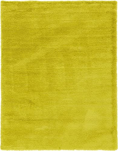 Unique Loom Luxe Solo Collection Plush Modern Yellow Area Rug 9 0 x 12 0