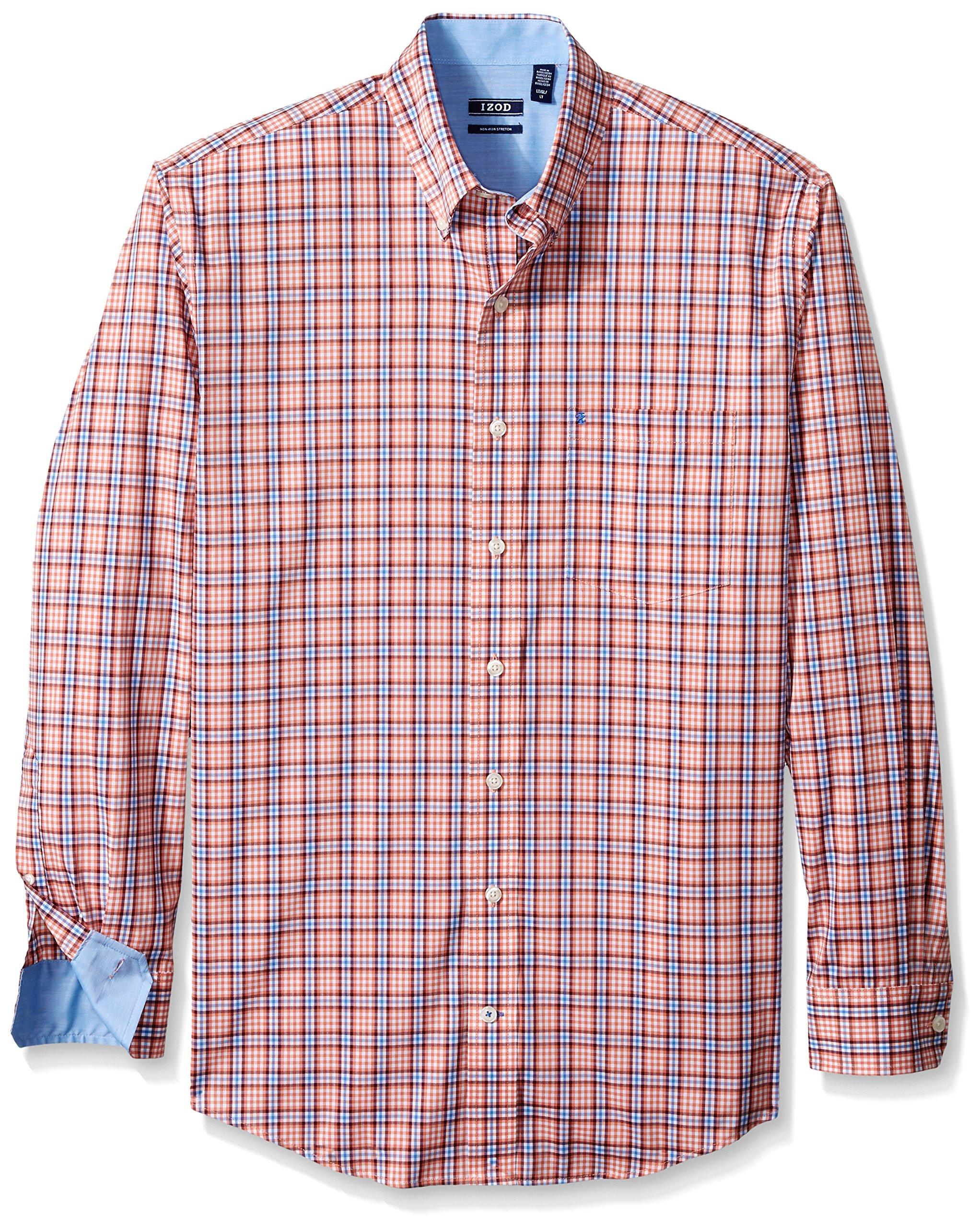 IZOD Men's Big and Tall Advantage Performance Stretch Long Sleeve Shirt, Tawny Orange, 2X-Large Tall