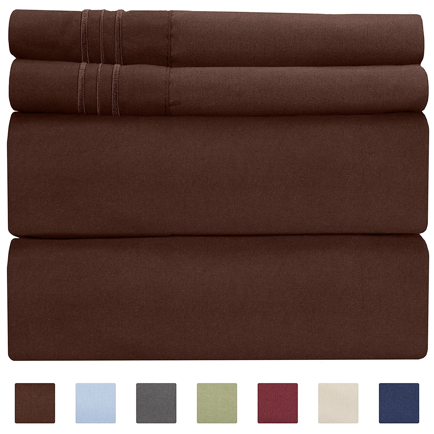 Queen Size Sheet Set - 4 Piece Set - Hotel Luxury Bed Sheets - Extra Soft - Deep Pockets - Easy Fit - Breathable & Cooling - Wrinkle Free - Comfy – Brown Chocolate Bed Sheets - Queens 4 PC