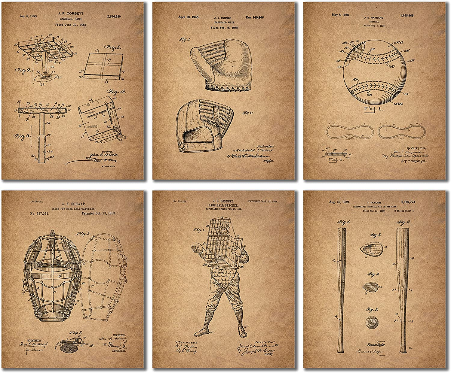 Baseball Patent Wall Art Prints - Set of 6 (8 inches by 10 inches) Vintage Antique Photos