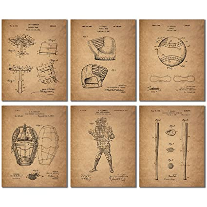 Amazon.com: Baseball Patent Wall Art Prints - Set of Six Vintage ...