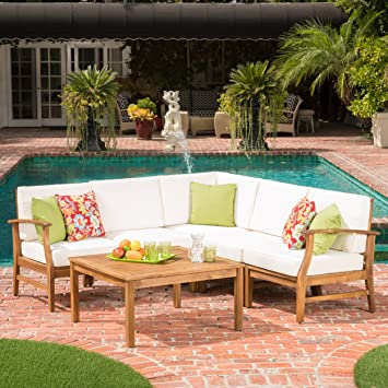 GDF Studio Capri Outdoor Patio Furniture Wood 6 Piece Chat Set With Water  Resistant Cushions