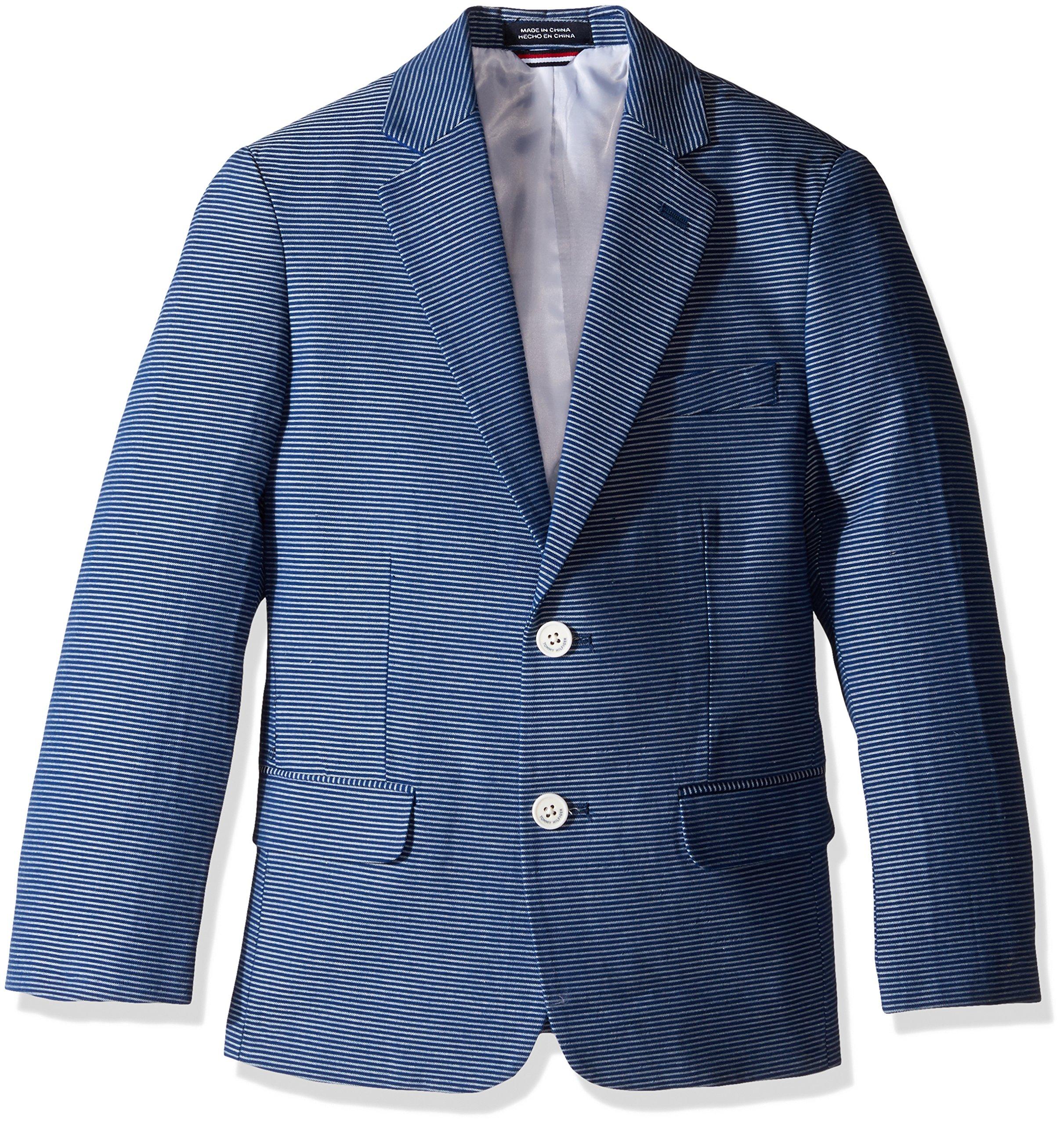 Tommy Hilfiger Big Boys' Horizontal Stripe Blazer, Dark Blue, 16