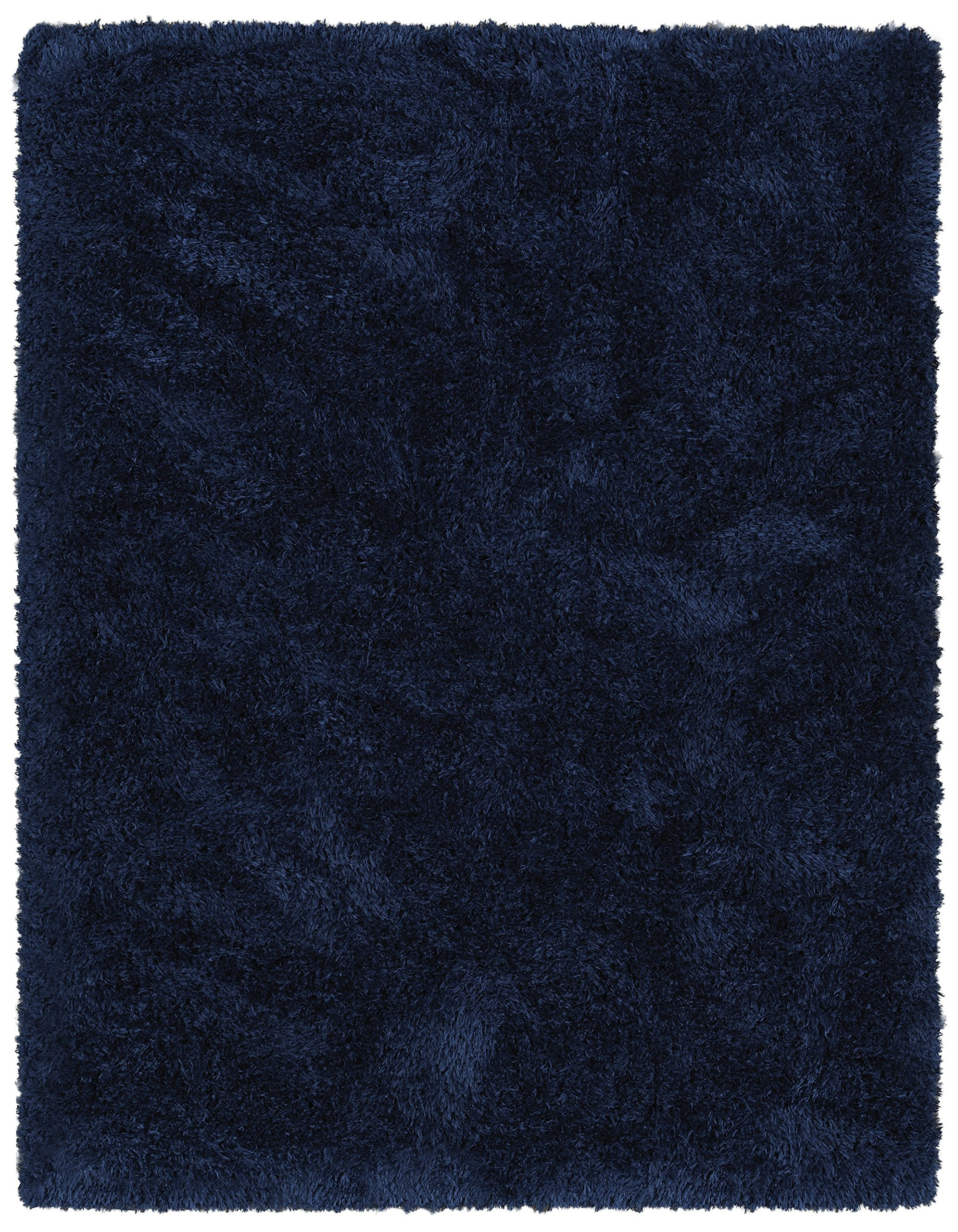 Ottomanson Flokati Collection Faux Sheepskin Shag Area Rug, 5'3''x7', Navy