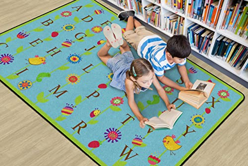 Flagship Carpets Blooming Alphabet Blue, Children s Classroom Educational Rug, 6 x8 4 , Rectangle