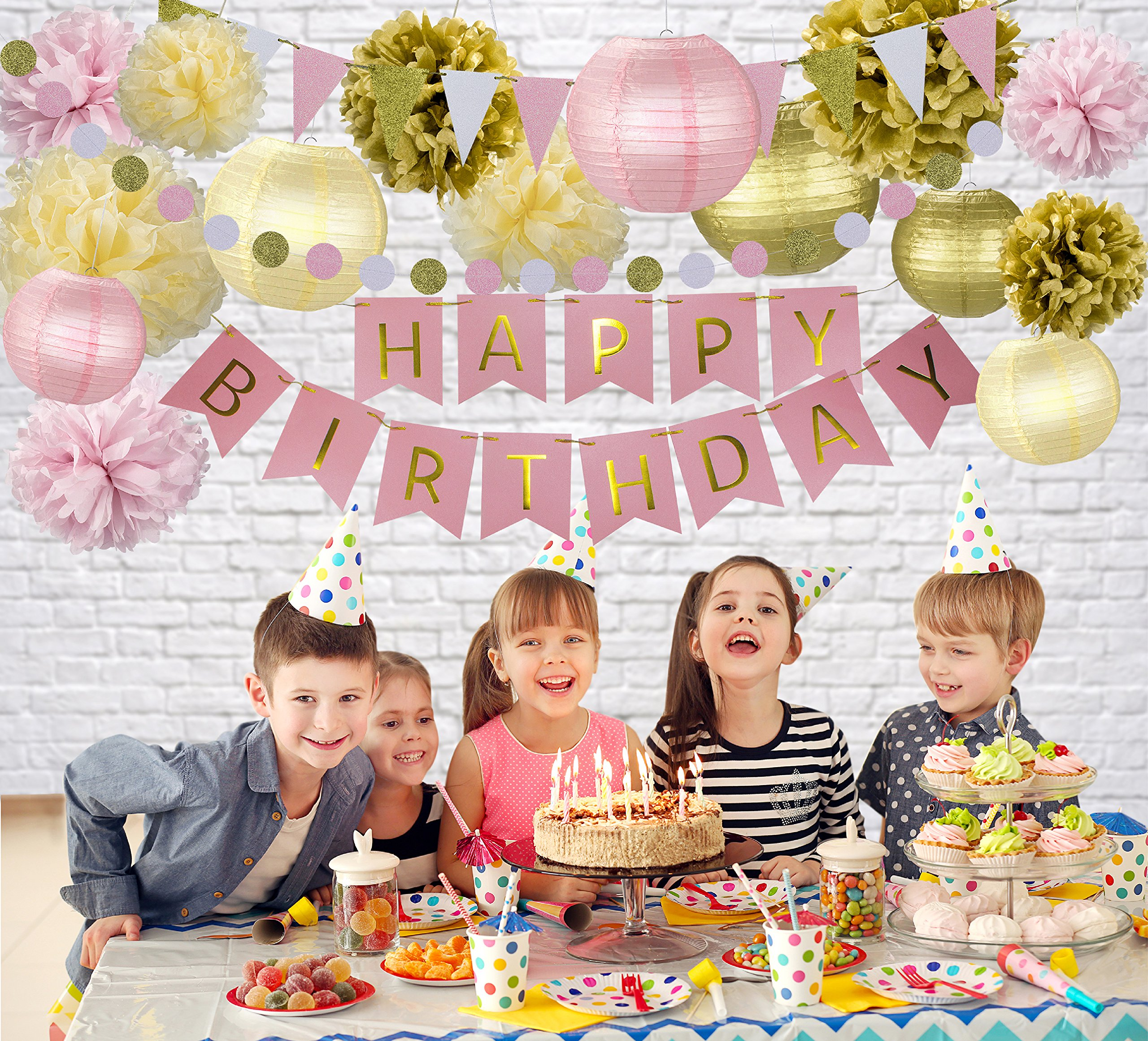 31 Pcs Of Pink Gold And Cream Birthday Party Decoration Set PomPom Lanterns Polka Dot Triangle Garland Banner First 1st Girl Princess Ballerina