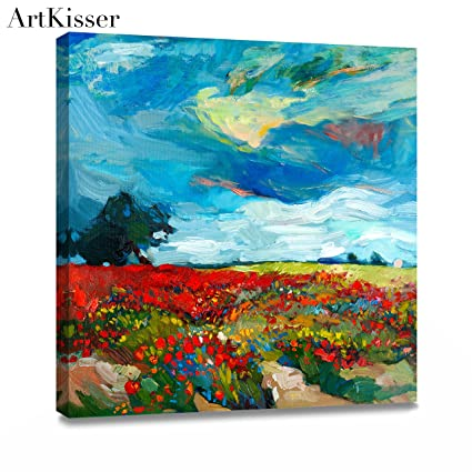Artkisser Modern Scenery Oil Paintings Wall Art Of Flowers Landscape Painted Canvas Home Decorations For Living Room With Frame 12 Lx12 Wx1 1 H