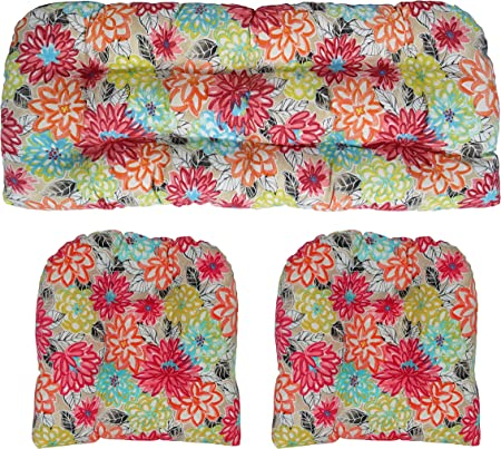 RSH Décor Indoor Outdoor Floral Wicker Tufted 3 Piece Set 1 - Loveseat Settee & 2 - U - Shape Chair Cushions - Yellow, Orange, Blue, Pink Bright Artistic Floral Cushions (41
