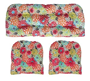 """RSH Décor Indoor Outdoor Floral Wicker Tufted 3 Piece Set 1 - Loveseat Settee & 2 - U - Shape Chair Cushions - Yellow, Orange, Blue, Pink Bright Artistic Floral Cushions (41"""" x 19"""" & 19"""" x 19"""")"""