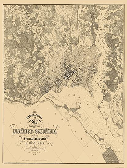 Topographic Map Washington Dc.Amazon Com Topographical Map Washington Dc Maryland Boshke