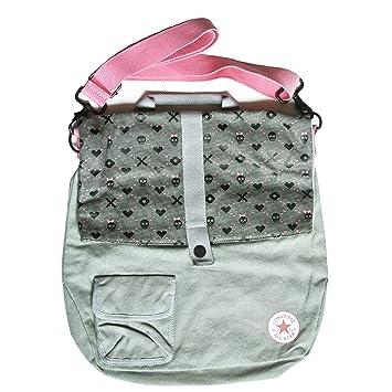 ba1f2cd847c Converse All Star Chucks AS Grey Pink Heart Grid Bag Skull Shoulder Bag and  Carry Case