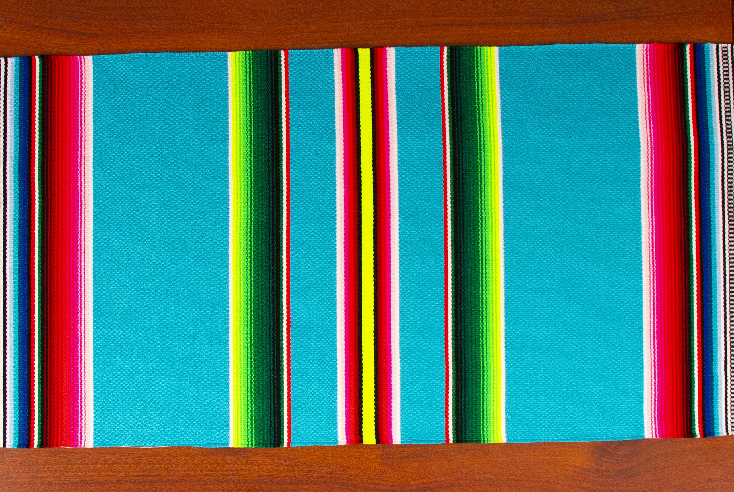 Genuine Mexican Premium Handwoven Bright MexicanTable Runner Saltillo Serape Colorful Striped Sarape 60'' x 12'' (Turquoise) by Threads West (Image #4)