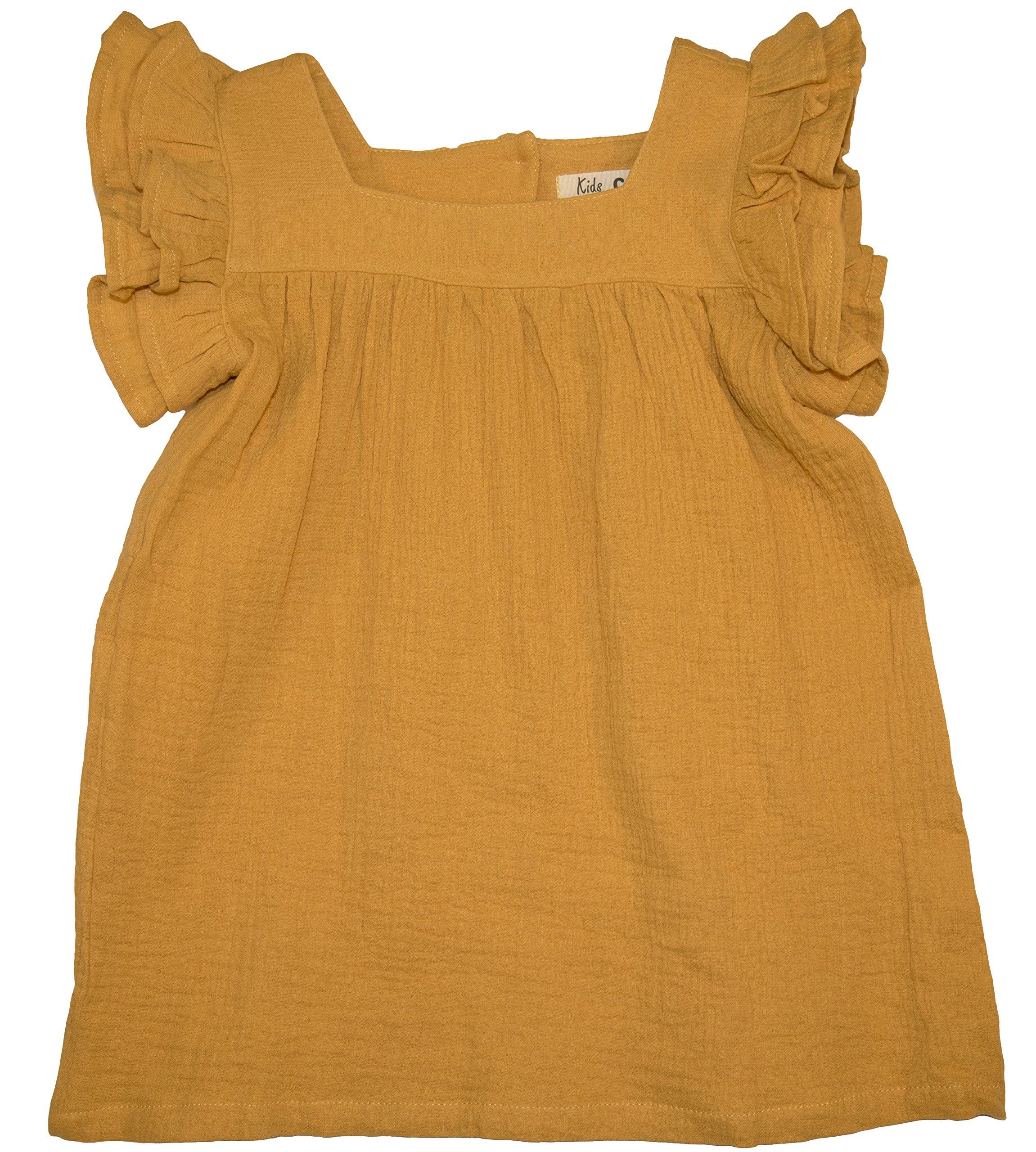 ContiKids Girls' Frill Sleeve Fly Dress 5 Mustard