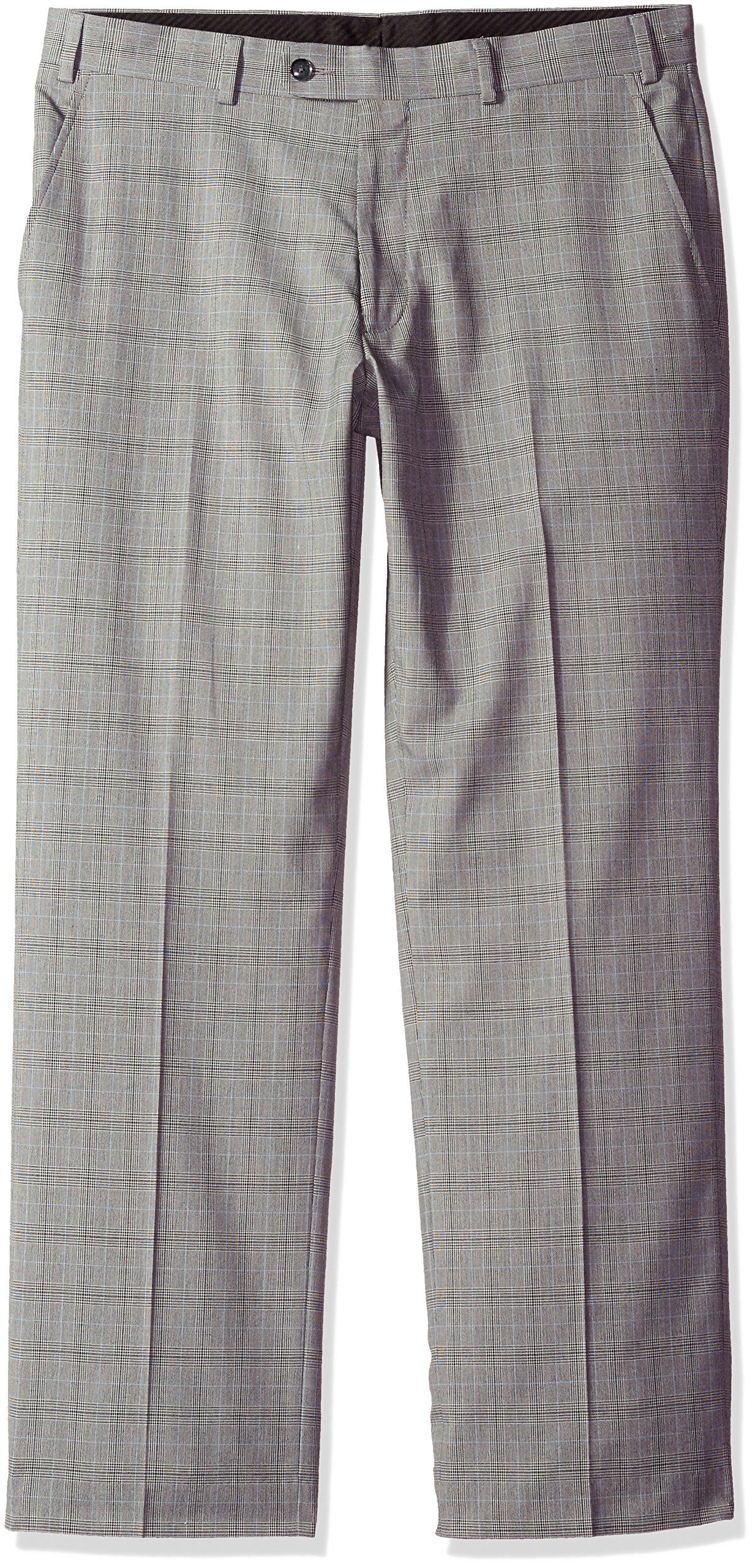 Perry Ellis Men's Modern Fit Suit Separate (Blazer, Pant, and Vest), Grey Plaid Pant, 44W x 32L