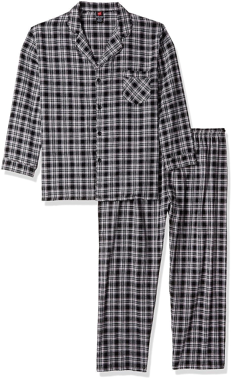 Hanes Men's Big Flannel Pajama Set Black Plaid 3X Large 93008X