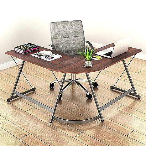 Amazoncom Shw L Shaped Home Office Corner Desk Wood Top Walnut