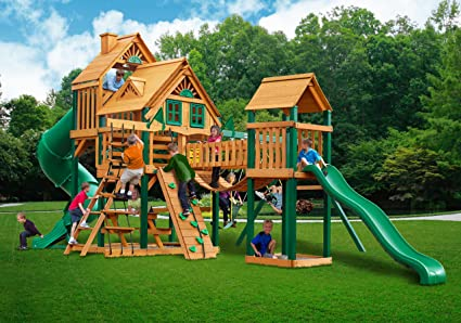 Amazon Com Tree House Swing Set With Timber Shield And Rope Ladder
