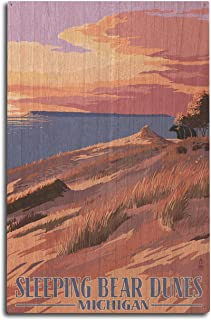product image for Lantern Press Sleeping Bear Dunes, Michigan - Dunes Sunset and Bear (10x15 Wood Wall Sign, Wall Decor Ready to Hang)