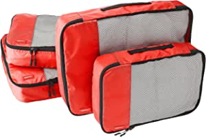 AmazonBasics 4 Piece Packing Travel Organizer Cubes Set - 2 Medium and 2 Large, Red