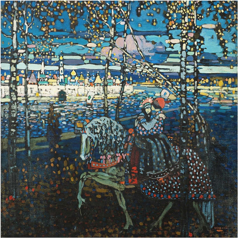 Bilderwelten Cuadro de Cristal Wassily Kandinsky Pareja a Caballo 1:1Tamaño: 30cm x 30cm